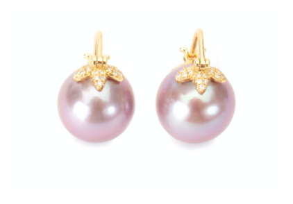 Pink flying pearl earrings