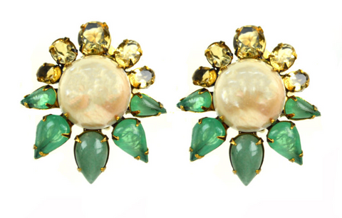 Pearl Sun Clip Earrings