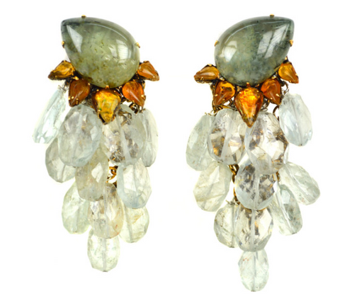 Prehnite Leaves Drop Earrings