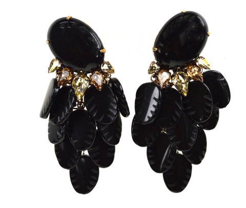 Onyx Leaves Drop Earrings