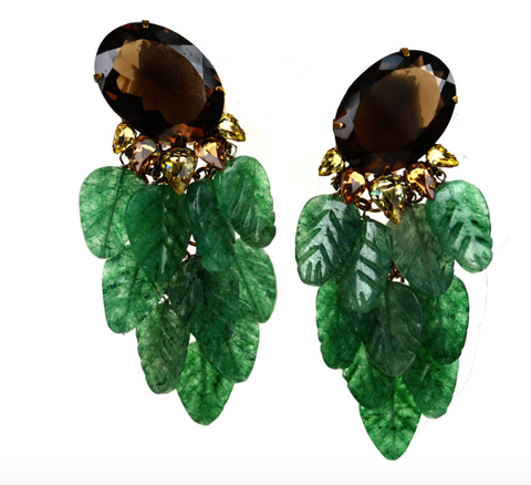 Green Leaves Drop Earrings