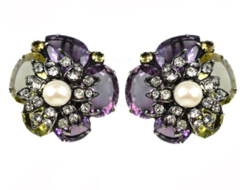 amethyst and citrine star cluster clip earrings