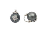 Samira 13 white gold and diamond starburst pearl earrings