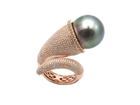 Pearl and Diamond Swirl Ring
