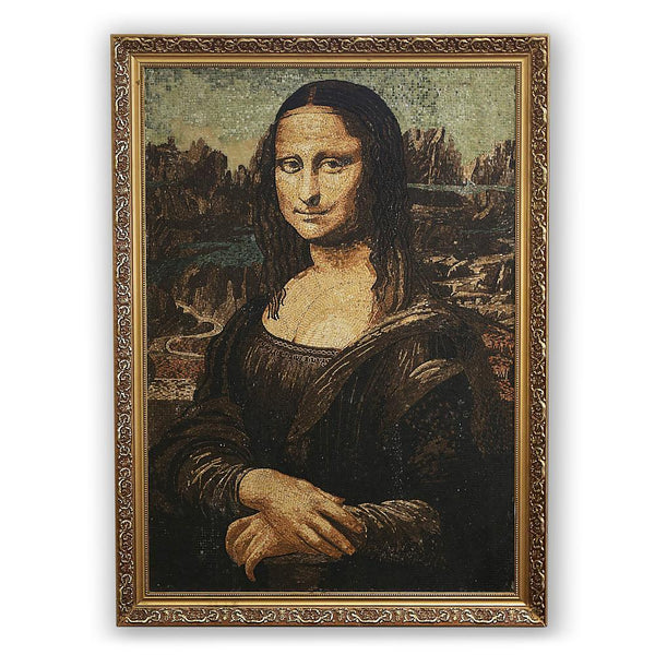Once Upon A Diamond Art Multi-Color Vintage Italian Micro-Mosaic Mona Lisa Picture, Framed 44x32