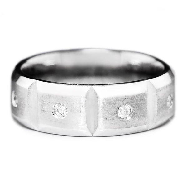 Once Upon A Diamond Band Men's Round Diamond Eternity Band in White Gold SZ 8