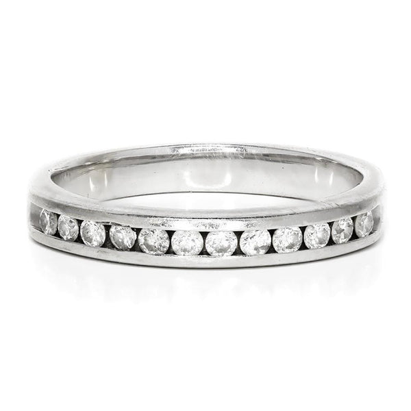 Once Upon A Diamond Band Round Diamond Channel Set Wedding Band in 14kt White Gold 0.35ctw 3MM