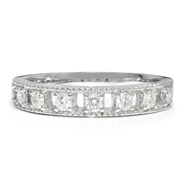 Once Upon A Diamond Band Round Diamond Milgrain Wedding Band 14K .40ctw