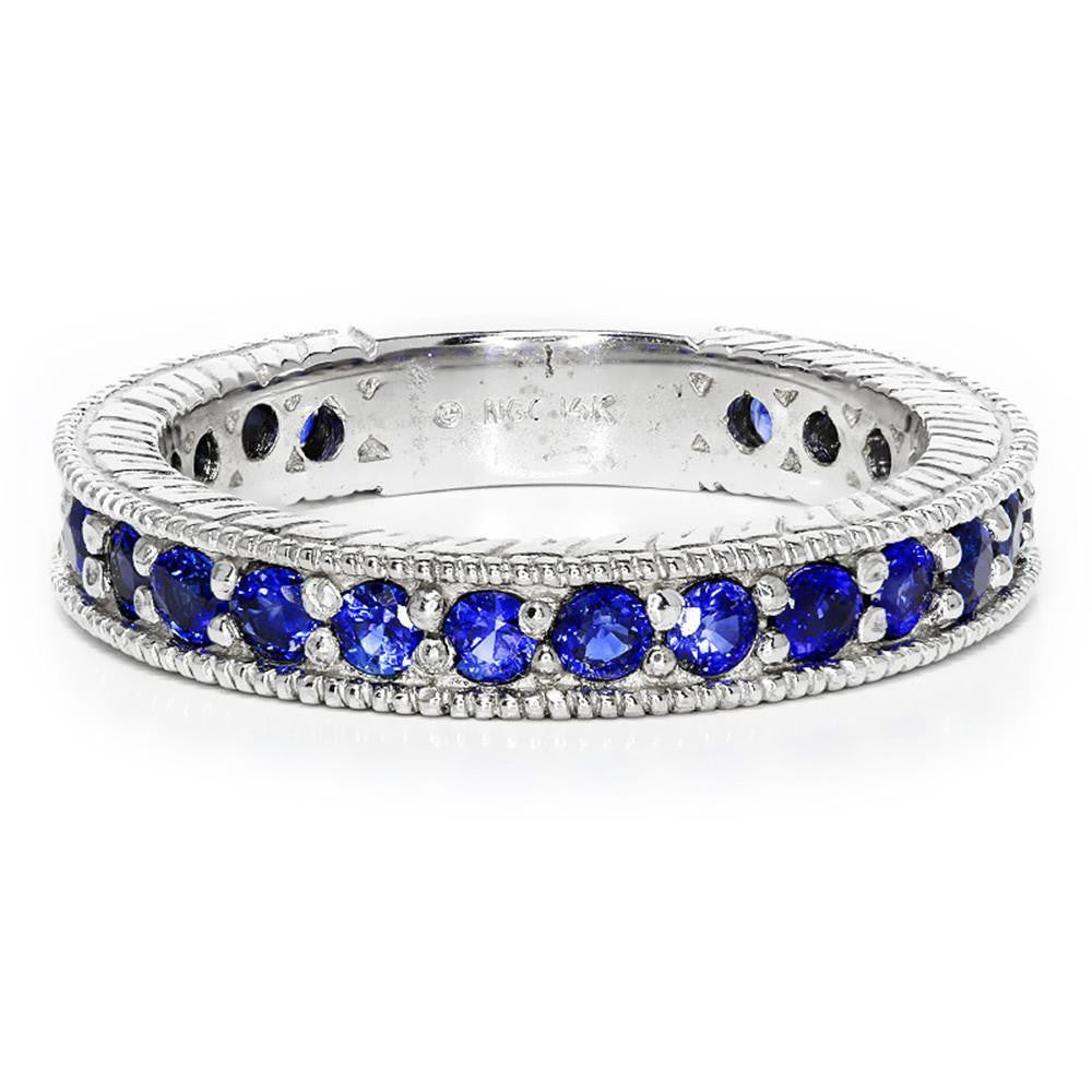 Sapphire Wedding Band Anniversary Ring Milgrain ⚜ Once Upon A Diamond