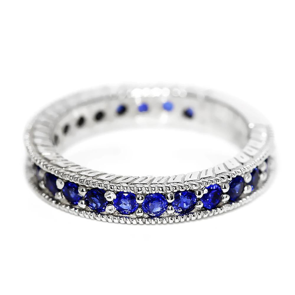 gold ring sapphire marquise products half bands wedding anniversary blue of white band eternity lord