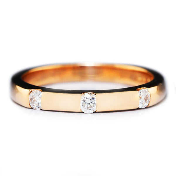 Once Upon A Diamond Band Triple Round Diamond Wedding Band 14K Rose Gold .21ctw