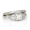 Once Upon A Diamond Band White Gold Art Deco Round Diamond Engagement Ring Set Platinum .50ctw