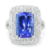 Once Upon A Diamond Band White Gold Large Tanzanite Cocktail Ring with Diamonds White Gold 8.68ctw