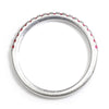 Once Upon A Diamond Band White Gold Round Ruby Stackable Wedding Band 14K .19ctw