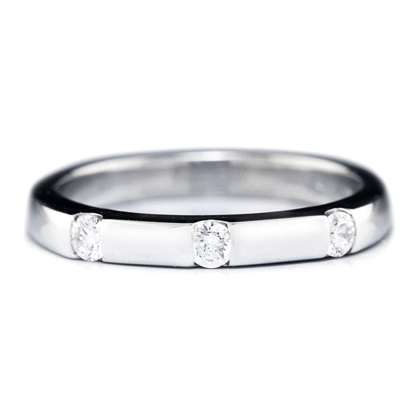 Once Upon A Diamond Band White Gold Straight Wedding Band with 3 Diamonds 14K .20ctw