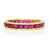 Once Upon A Diamond Band Yellow Gold Estate Round Ruby Eternity Band Channel Set 14K 1.50ctw