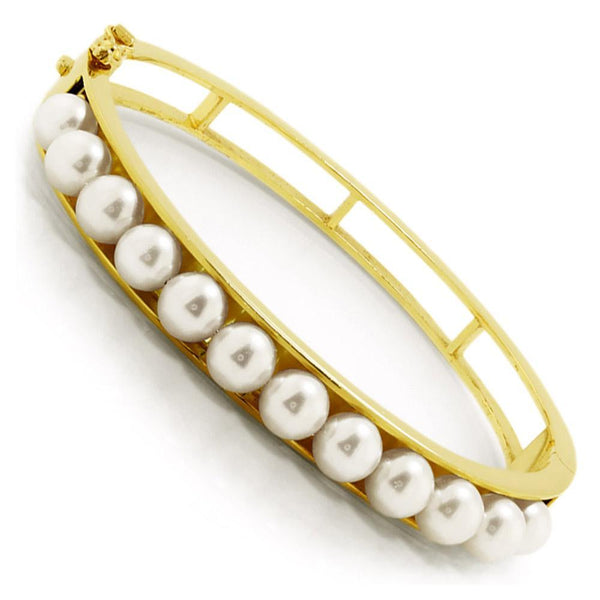 Once Upon A Diamond Bracelet Cultured Pearl Bangle Bracelet 14K Yellow Gold 6-6.5MM