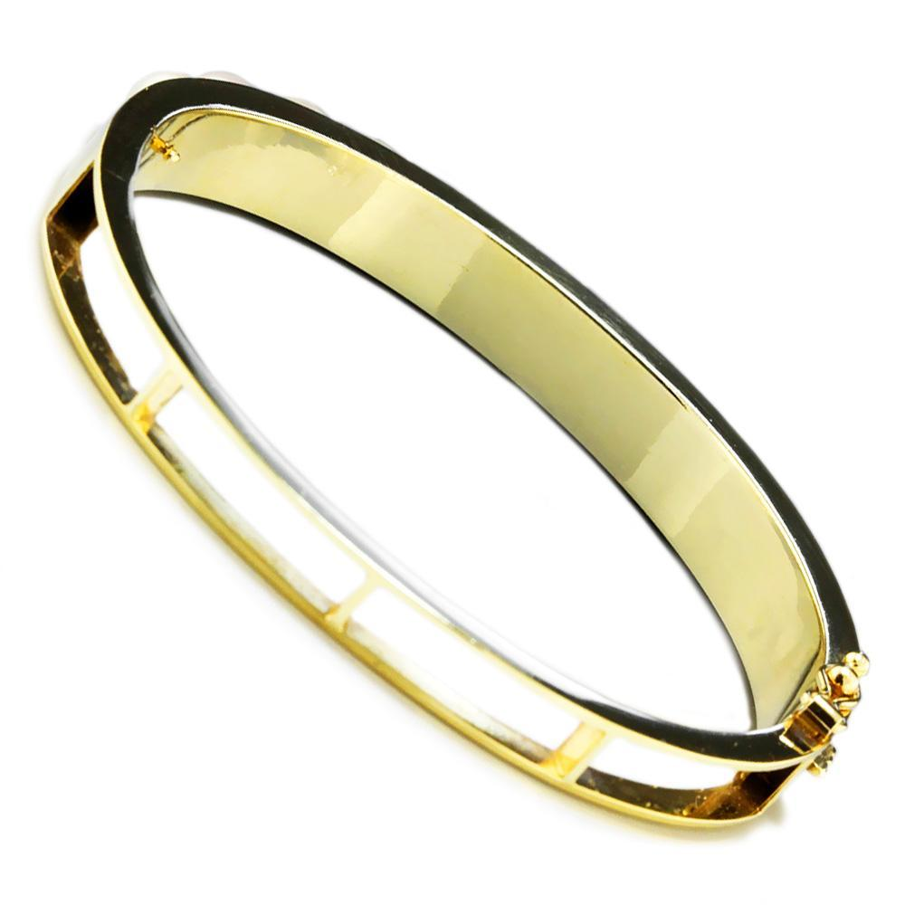 Cultured Pearl Bangle Bracelet 14K Yellow Gold 6-6.5MM - Once Upon ...