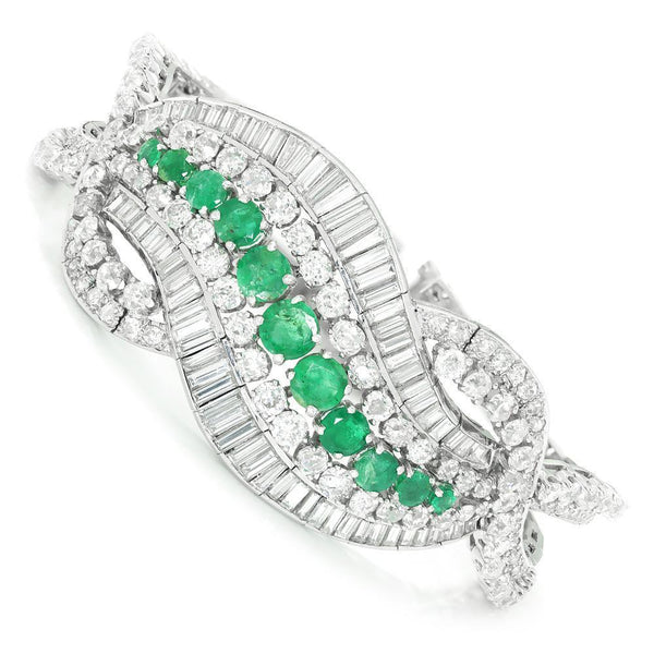 Once Upon A Diamond Bracelet Platinum Vintage Emerald Swirl Platinum Bracelet with Diamonds 21.35ctw