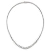 Once Upon A Diamond Bracelet White Gold 10.65ctw Round Diamond Graduated Tennis Necklace White Gold