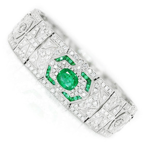 Once Upon A Diamond Bracelet White Gold Art Deco Style Emerald Bracelet with Diamonds 18K 10.87ctw