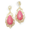 Once Upon A Diamond Bracelet White & Yellow Gold Teardrop Pink Quartz Earrings with Rose Cut Diamonds 18K