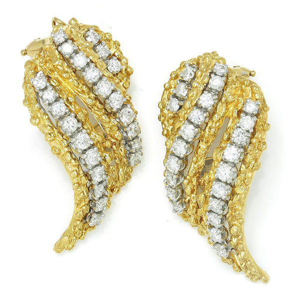 Once Upon A Diamond Bracelet White & Yellow Gold Vintage Diamond Flame Earrings 18K Yellow Gold 2.50ctw