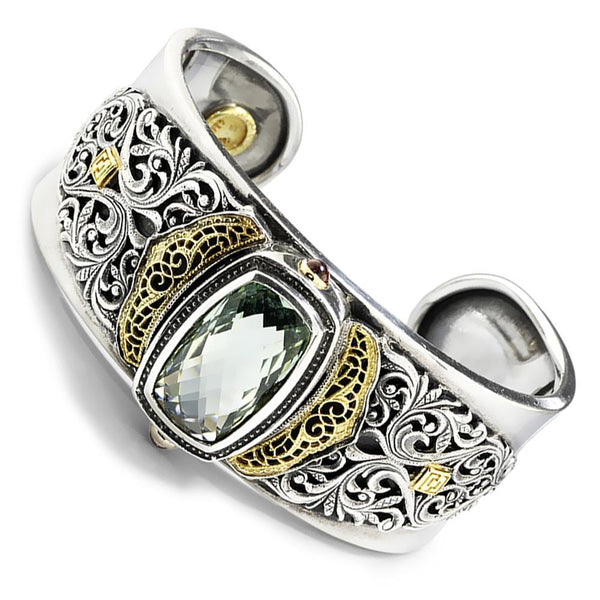 Once Upon A Diamond Bracelet William Schraft Green Amethyst Filigree Cuff  18K/925