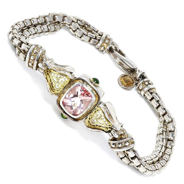 Once Upon A Diamond Bracelet William Schraft Pink Topaz Bracelet with Tsavorite's in Sterling & 18kt Gold