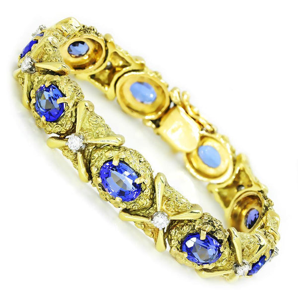 Once Upon A Diamond Bracelet Yellow Gold Vintage Tanzanite Bracelet with Diamonds 18K Yellow Gold 12.15ctw