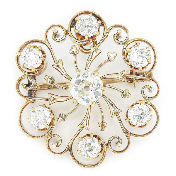 Once Upon A Diamond Brooch Antique Old Mine Cut Diamond Circle Brooch Pendant 1.60ctw