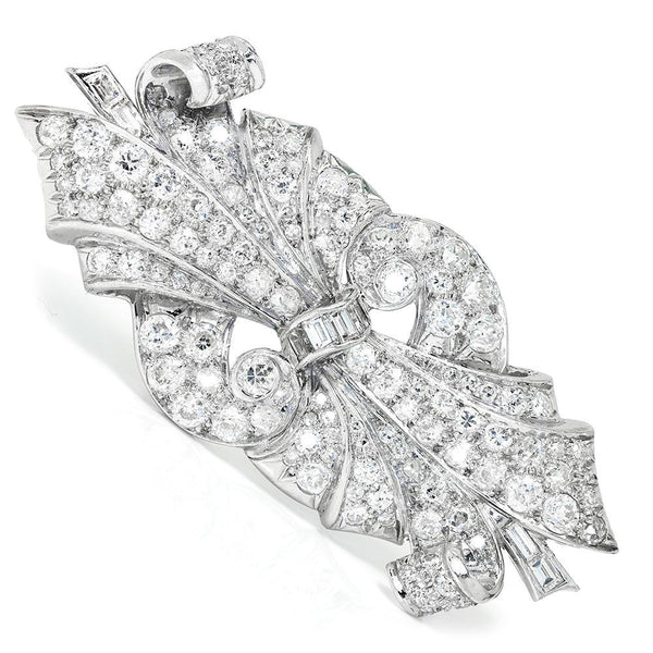 Once Upon A Diamond Brooch Vintage Art Deco Diamond Brooch Pin in Platinum 5.00ctw