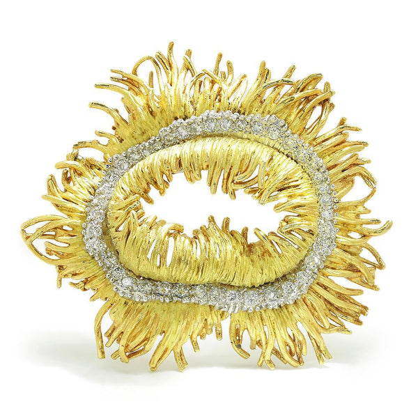 Once Upon A Diamond Brooch White & Yellow Gold Vintage Diamond Sea Anemone Brooch Pin 18K Gold 1.50ctw