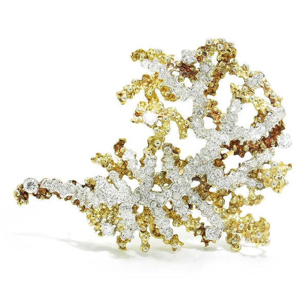 Once Upon A Diamond Brooch White & Yellow Gold Vintage Diamond Sea Anemone Brooch Pin 18K Gold 4.50ctw