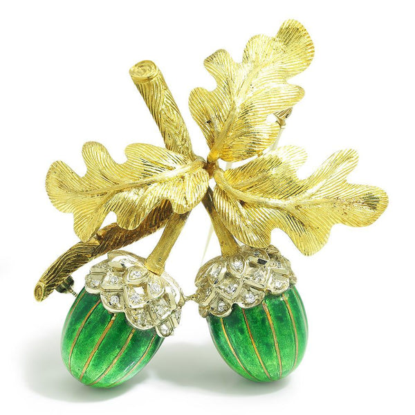 Once Upon A Diamond Brooch White & Yellow Gold with Green Enamel Vintage Diamond Acorn with Leaves Brooch 18K & Enamel