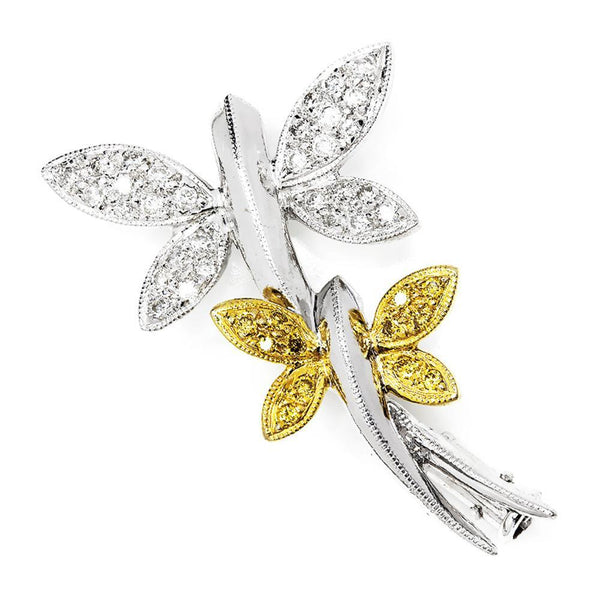 Once Upon A Diamond Brooch Yellow Gold & Platinum Dragonfly Brooch Pin with White & Fancy Yellow Diamonds