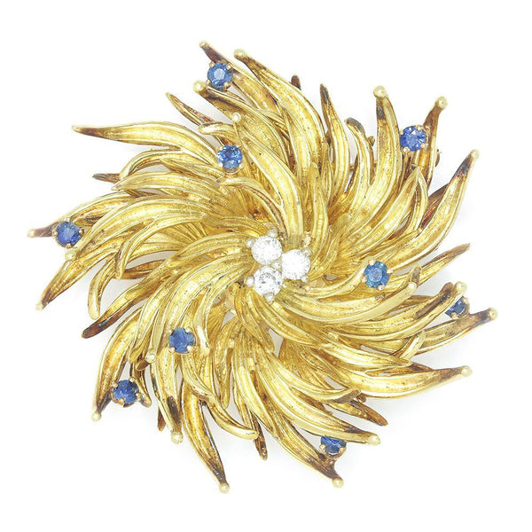 Once Upon A Diamond Brooch Yellow Gold & Platinum Vintage Tiffany Starburst Diamond Brooch Pin with Sapphires 18K