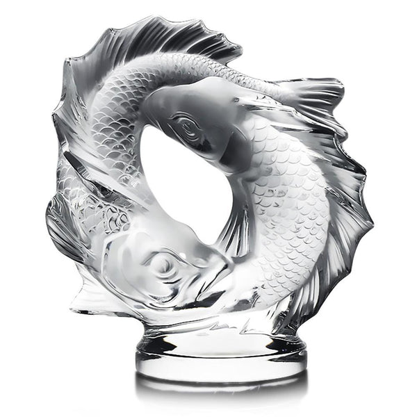 Once Upon A Diamond Crystal Lalique French Crystal Deux Poissons Pisces Sculpture 17.5 lbs