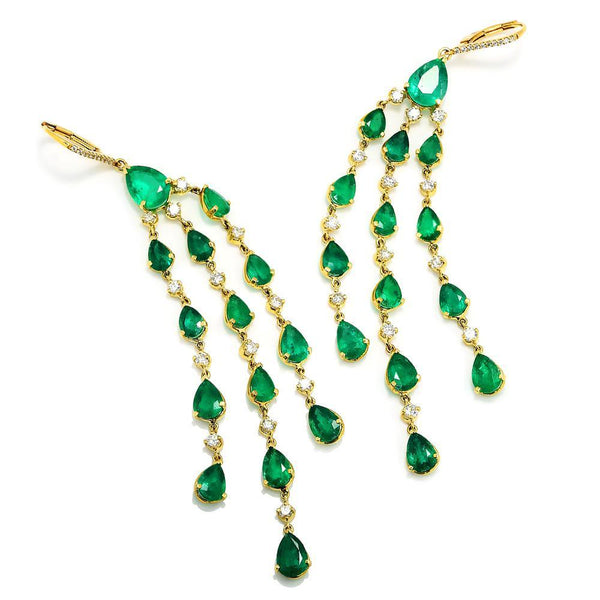 Once Upon A Diamond Earrings Colombian Emerald Chandelier Earrings with Diamonds 18K