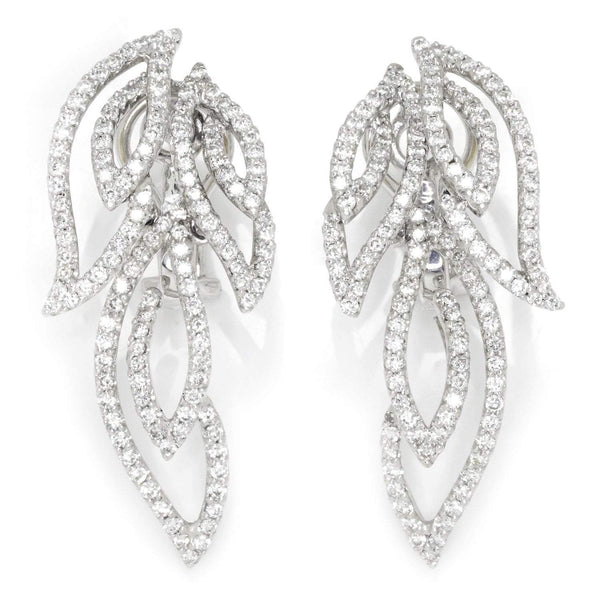 Once Upon A Diamond Earrings White Gold 4CT Movable Feather Wing Diamond Omega Earrings 18K White Gold
