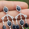Once Upon A Diamond Earrings White Gold Blue Sapphire Chandelier Earrings with Diamonds 18K 17.40ctw