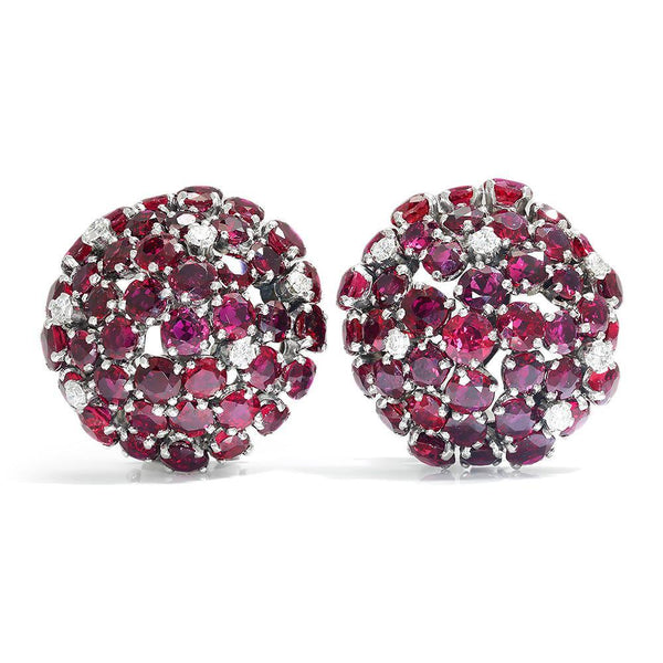 Once Upon A Diamond Earrings White Gold & Platinum Ruby Dome Clip-On Earrings with Diamonds 18K White Gold