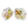 Once Upon A Diamond Earrings White & Yellow Gold Multi-Color Sapphire Clover Earrings with Diamonds 18K 4.00ctw