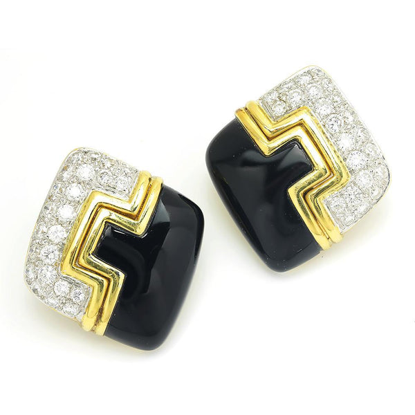 Once Upon A Diamond Earrings White & Yellow Gold Vintage Diamond & Onyx Earrings 18K Two Tone Gold 1.75ctw