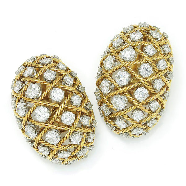 Once Upon A Diamond Earrings Yellow Gold Vintage Diamond Rope Ear Clips 18K Platinum 14K 6.00ctw