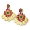 Once Upon A Diamond Earrings Yellow Gold Vintage Emerald Indian Earrings with Rubies 22K 6.15ctw