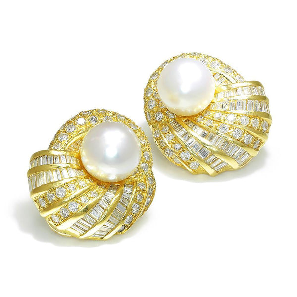 Once Upon A Diamond Earrings Yellow Gold Vintage South Sea Pearl Earrings with Diamonds 18K 3.00ctw