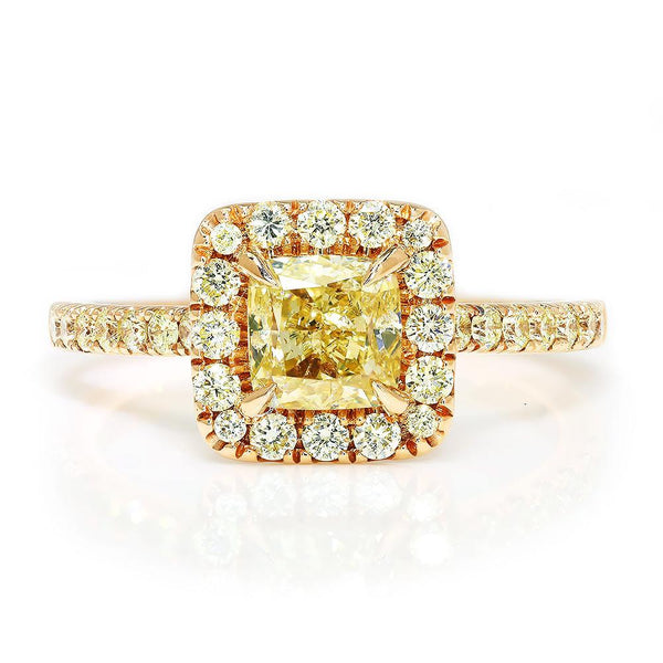 Once Upon A Diamond Engagement Ring Cushion Fancy Yellow Diamond Ring Rose Gold A.Jaffe 1.60ctw