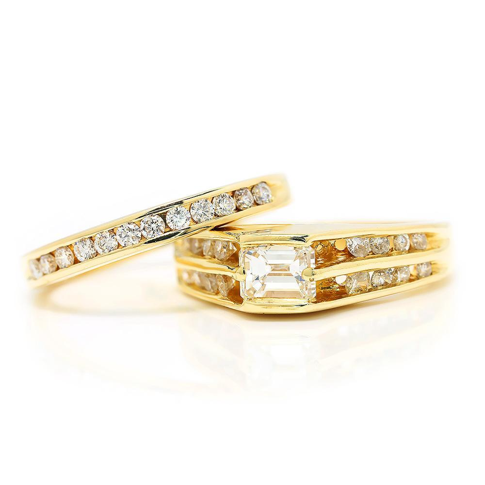 Emerald Cut Diamond Engagement Ring Set With Accents 14k Yellow
