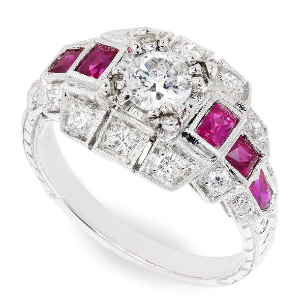 Once Upon A Diamond Engagement Ring European Diamond Engagement Ring with Rubies 18K 1.61ctw